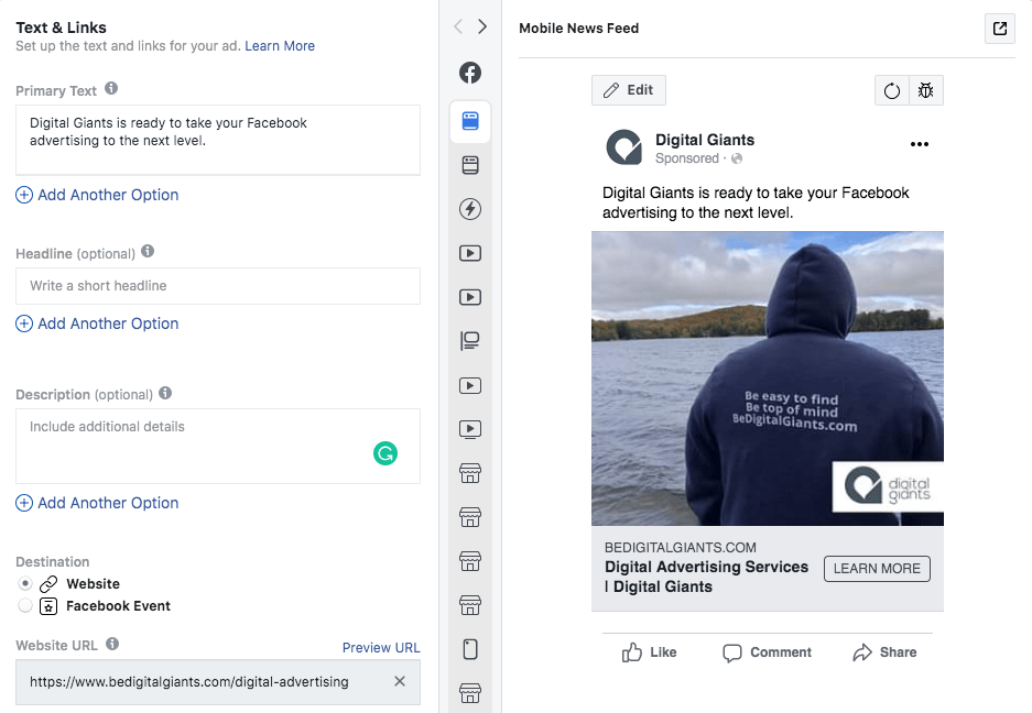 Facebook ads and calls to action