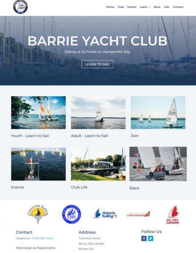Barrie Yacht Club - Full Homepage - Digital Giants Web Design Portfolio