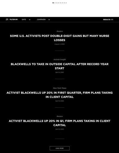 Blackwells capital content page - web design portfolio