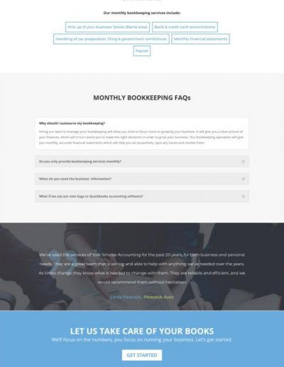 York Simcoe Accounting Service Page - Web Design Portfolio Image